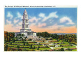 Alexandria, Virginia, Panoramic View of the George Washington Masonic National Memorial Posters by  Lantern Press