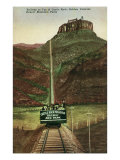 Golden, Colorado, View of Castle Rock Mt. and Incline Railway to the Top Print by  Lantern Press