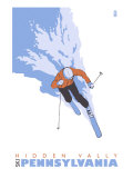 Hidden Valley, Pennsylvania, Stylized Skier Prints