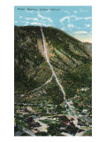 Manitou Springs, Colorado, Aerial View of the Mount Manitou Incline Railway and Town Prints by  Lantern Press