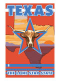 Texas, The Lone Star State, Longhorn Bull Prints by  Lantern Press