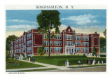 Binghamton, New York, Exterior View of the New High School Prints by  Lantern Press