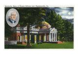 Virginia, Exterior View of Thomas Jefferson's Home Monticello near Charlottesville Prints by  Lantern Press