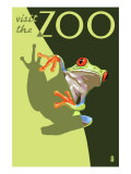 Visit the Zoo, Tree Frog Scene Art by  Lantern Press