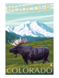 Boulder, Colorado, Moose and Mountain Prints by  Lantern Press