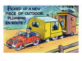 Man Towing a Trailer and an Outhouse, Outdoor Plumbing Poster