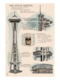 Seattle, WA, Space Needle Technical Drawing Posters