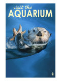 Visit the Aquarium, Sea Otter Scene Prints by  Lantern Press