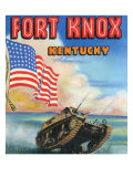 Fort Knox, Kentucky, Large Letters, View of a Tank and the US Flag Posters by  Lantern Press