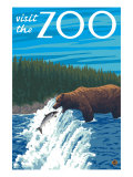 Visit the Zoo, Bear Fishing Print by  Lantern Press