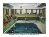 Virginia Beach, Virginia, Interior View of the Cavalier Hotel Swimming Pool Prints by  Lantern Press