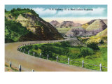 North Dakota, Scenic US Highway 10 in the Badlands, T. Roosevelt National Park Posters