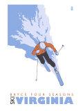 Bryce Four Seasons, Virginia, Stylized Skier Print by  Lantern Press
