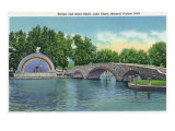 Pueblo, Colorado, Mineral Palace Park View of Lake Clara Bridge and Band Shell Posters by  Lantern Press