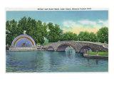 Pueblo, Colorado, Mineral Palace Park View of Lake Clara Bridge and Band Shell Posters