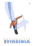 Massanutten, Virginia, Stylized Snowboarder Prints by  Lantern Press