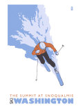 The Summit at Snoqualmie, Washington, Stylized Skier Posters by  Lantern Press