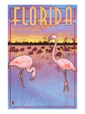 Florida, Flamingos Scene Art by  Lantern Press