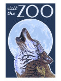 Visit the Zoo, Wolf Howling Prints by  Lantern Press