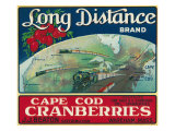 Wareham, Massachusetts, Long Distance Brand Cape Cod Cranberry Label Print