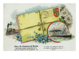 Scene of Love Letters Tied Up with Flowers Cigar Box Label Prints