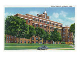 Davenport, Iowa, Exterior View of Mercy Hospital Prints