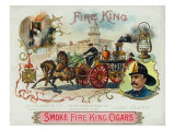 Fire King Brand Cigar Box Label, Firemen with Horse Engine Prints