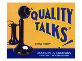 Yakima, Washington, Quality Talks Brand Apple Label Prints by  Lantern Press