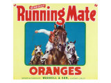 Lindsay, California, Seabiscuit Running Mate Brand Citrus Label Posters