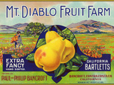 Bancroft, California, Mt. Diablo Fruit Farm Brand Pear Label Prints by  Lantern Press