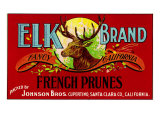 Cupertino, California, Elk Brand French Prunes Label Posters by  Lantern Press