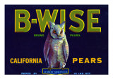 California, B-Wise Brand Pear Label Posters by  Lantern Press