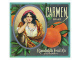 California, Carmen Brand Citrus Label Prints by  Lantern Press