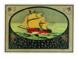 Scene of a Ship at Sea Cigar Box Label, Nautical Posters