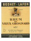 Rhum du Vieux Grognard Bedhet-Lafon Brand Rum Label Posters by  Lantern Press