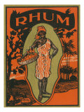 Rhum Woman with Basket of Fruit and Drinks Rum Label Posters