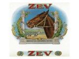 Zev Brand Cigar Box Label, Horse Racing Prints by  Lantern Press