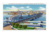 Davenport, Iowa, Aerial View of Bridge and Roller Dam between City and Rock Island, IL Prints