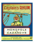 Monopole de Cazanove Captain's Rhum Brand Rum Label Prints by  Lantern Press