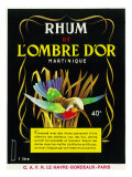 Rhum de Lombre d'Or Martinique Brand Rum Label Poster