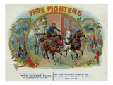 Firefighters Brand Cigar Inner Box Label, Fireman with Horse-Drawn Engine Prints by  Lantern Press