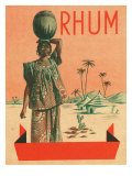 Rhum Woman with Sack on Head Rum Label Poster by  Lantern Press