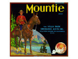 Villa Park, California, Mountie Brand Citrus Label Print