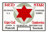 Plymouth, Massachusetts, Red Star Brand Cape Cod Cranberry Label Posters