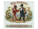 Red Dandies Brand Cigar Box Label, Native American Prints