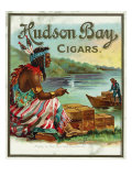 Hudson Bay Brand Cigar Outer Box Label, Native American Lámina giclée premium por  Lantern Press