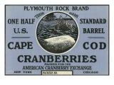 Cape Cod, Massachusetts, Plymouth Rock Brand Cranberry Label Prints