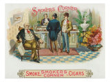 Smokers Corner Brand Cigar Box Label Posters by  Lantern Press