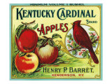 Henderson, Kentucky, Kentucky Cardinal Brand Apple Label Poster by  Lantern Press