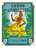 Creme d'Anisette Liqueur Surfine des iles Brand Rum Label Prints by  Lantern Press